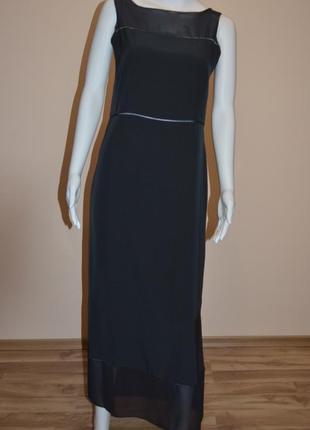 7-14.12 скидки до 70%! длинное черное платье с мережкой zapa дорогой бренд
