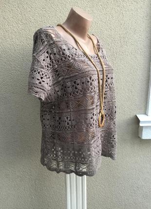 Блуза кружевная,футболка из мягкого гипюра,кофточка,хлопок,большой размер3