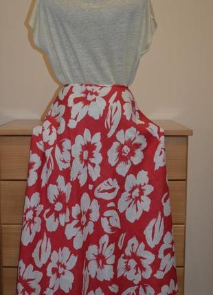 7-14.12 скидки до 70%! льняная юбка цветочный принт 100% лен дорогой бренд hobbs4