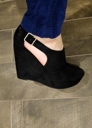 Шикарные черные босоножки 40 р. на широкую ножку. new look. новые!2