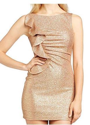 Женское вечернее золотистое дизайнерское платье с воланом сша m l