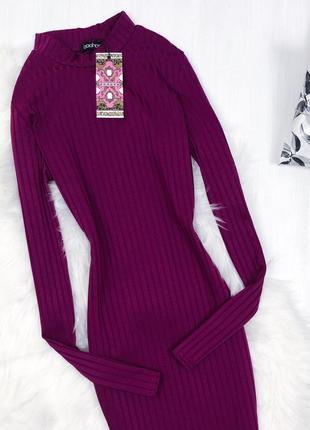 Базова сукня-гольф довжини міді \ базовое пурпурное платье гольф миди boohoo4