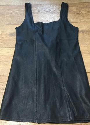 Чёрный кожаный сарафан