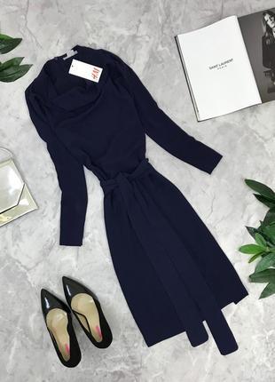 Шикарное платье в тёмно-синего цвете с широким поясом  dr1849165 h&m