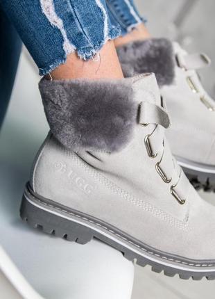 Шикарные женские зимние ботинки/ угги/ сапоги  ugg grey  с натуральным мехом