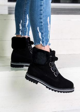Шикарные женские зимние ботинки/ угги/ сапоги ugg black с натуральным мехом