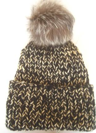 Теплющая шапочка, двойная нить, помнопон чернобурка м-хл