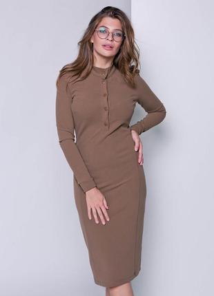 Трикотажное платье с погончиками, размер 50