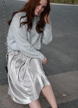 Шикарный свитер-травка оверсайз с металлической нитью р.l-xl-xxl h&m джемпер пуловер