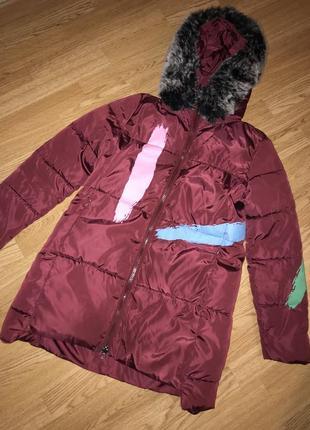 Зимнее тёпленькое яркое пальто для девушек