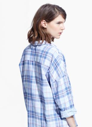 Хлопковая натуральная свободная рубашка в голубую клетку оверсайз mango