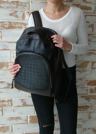 Стильный кожаный эксклюзивный рюкзак унисекс/ кожаный рюкзак