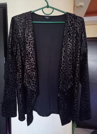 Шикарный леопардовый кардиган,жакет велюр имитация кожи