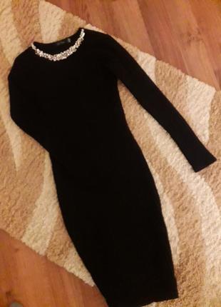 Платье миди со стразами трикотаж рубчик