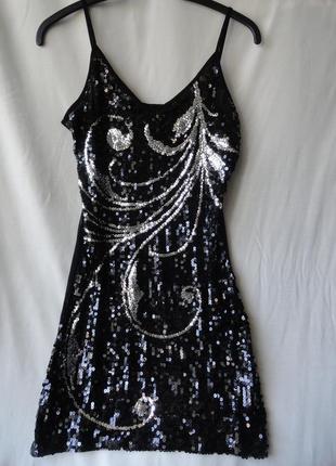 Нарядное вечернее концертное платье в паетках