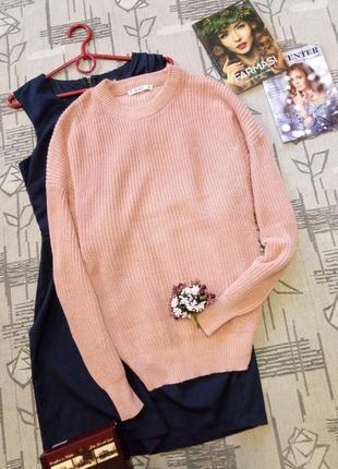 Красивый актуальный свитер цвета пыльной розы,размер m-l
