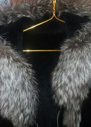 Куртка с капюшоном натуральная кожа кожаная цигейка чернобурка