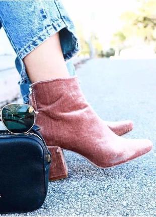 Ботильйоны zara из розового велюра на устойчивом каблуке zara, велюровые ботинки zara