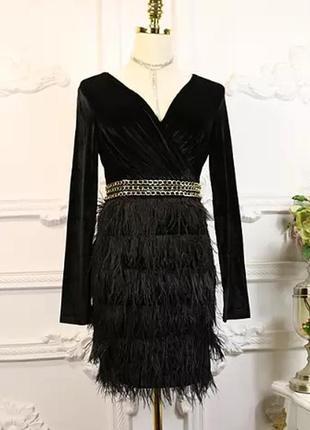 Платье вечернее с перьями
