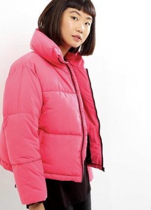 Зимняя куртка объемная дутая оверсайз малиновая очень крутая new look