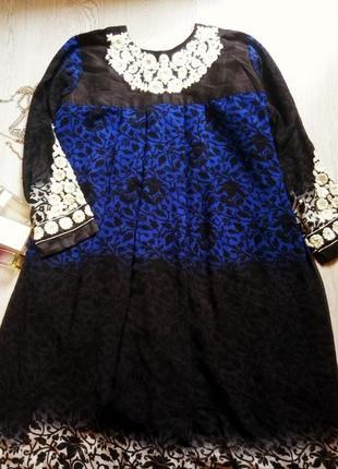 Нарядное платье в пол с принтом,вышивкой и камнями черное синее большой размер батал