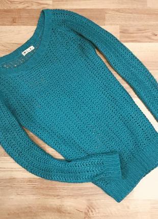 Вязаный бирюзовый удлинённый свитер кофта