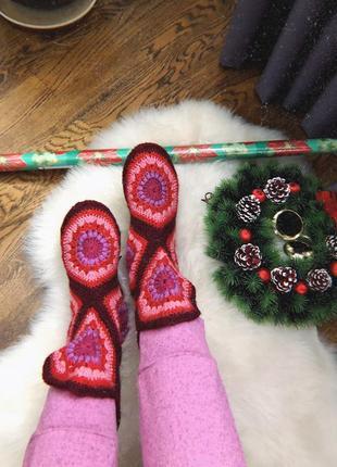 Зимние ботинки вязанные/ тапки/ подарок новогодний/ сапожки/ сапоги hand made носки