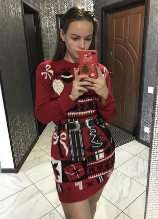 Новогодний свитер платье красный черный белый