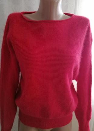 Кофта свитер красный шерсть ангора