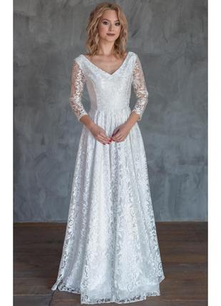 Шикарное свадебное платье с рукавом