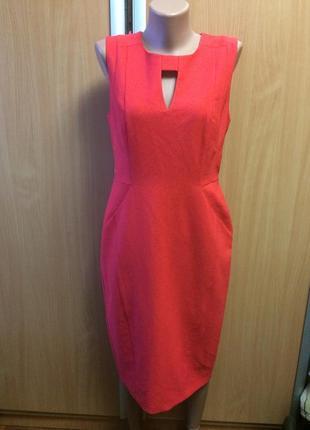 Платье классическое с молнией на спине коралловое размер 12