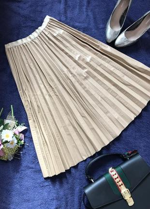 Новая юбка плиссе под кожу эко кожа солнце клеш