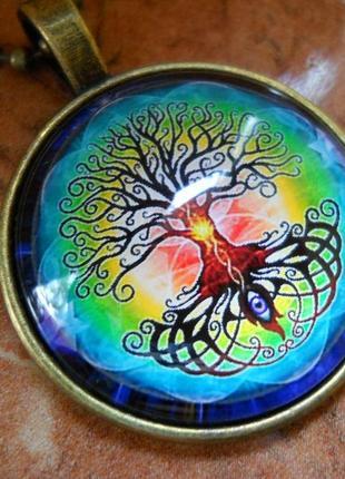 Кулон дерево жизни, глаз радуга, стиль фэнтези