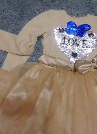 Нарядное платье с бантом/паетки перевертыши от 116 до 152