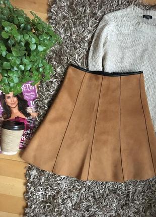 Трендовая юбка-трапеция из эко замши! как новая!