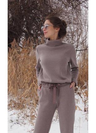 Шикарный теплый зимный шестяной костюм гольф брюки прогулочный кофе