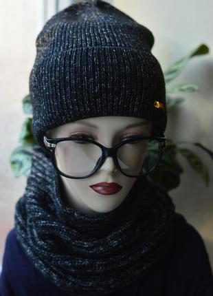 Комплект шапка бини и бафф черная