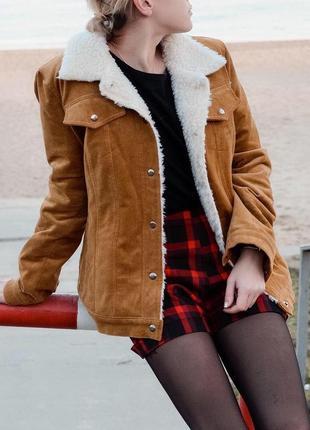 Вельветовая курточка на овчине!)