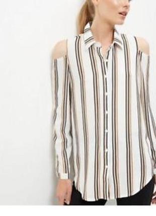 Базовая полосатая блузка с вырезами на плечах new look1