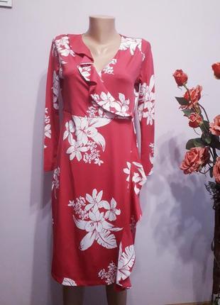 Платье малиновое в белых цветах с оборкой  marks&spencer