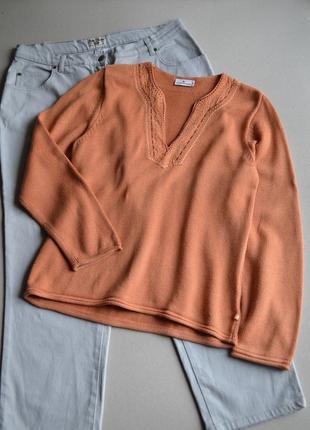 Джемпер кофта с вышивкой p.xl-xxl  50% хлопок   tom tailor