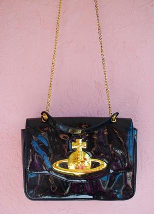 Vivienne westwood оригинал лаковая черная сумка