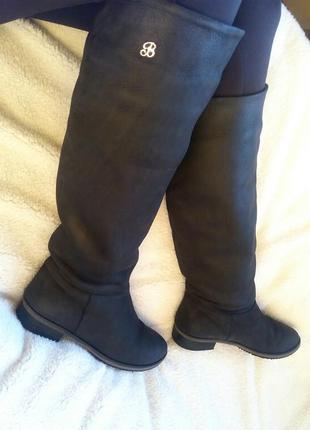 Зимние сапоги design italy из натуральной кожи(нубук), еврозима, сапоги-трубы без молнии.