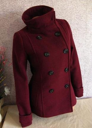 Пальто h&m цвет марсала размер eur 34-36