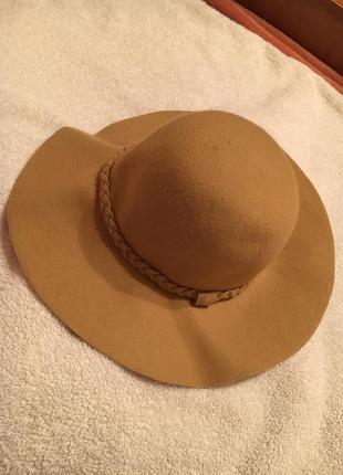 Новая шляпа с широкими полями песочного цвета 100% шерсть