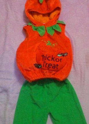 Новогодняя детская плюшевая жилетка / костюм тыквы на утренник, ярко-оранжевая, 2-3года.