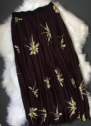 Плиссированная юбка с цветочным принтом