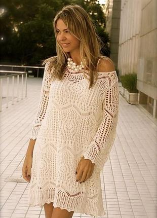 Великолепие и очарование ажурных узоров  - моднячее романтичное вязаное платье h&m
