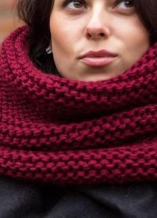 Бордо вязаный шарф-снуд хомут в два оборота,польша