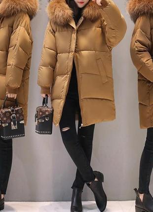 Пуховик куртка зимняя оверсайз коричневый цвет